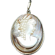 800 Silver Mother of Pearl Cameo Pendant. Free U.S. Shipping. International Shipping Charges May Vary.