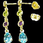 Pair of 14 Karat Yellow Gold Multi Gemstone Pierced Earrings