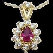 Hallmarked 14 Karat Yellow Gold Genuine Ruby and Diamond Pendant