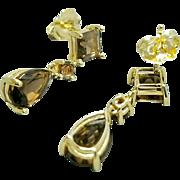 Pair of 14 Karat Yellow Gold Smokey Quartz Gemstone Earrings. Free U.S. Shipping. International Shipping Charges May Vary.