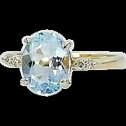 Hallmarked 14 Karat Yellow Gold Aquamarine Gemstone and Diamond Ring