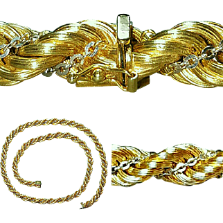 Hallmarked 14 Karat and Italy Yellow Gold Rope Style Chain with White Gold Cable Chain Necklace and Bracelet Set