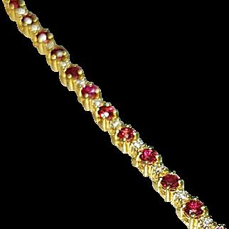 14 Karat Yellow Gold Genuine Ruby and Diamond Bracelet