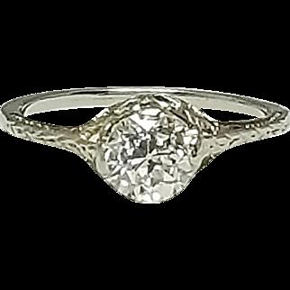 18 Karat White Gold European Cut Diamond Ring