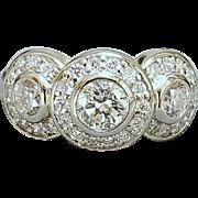 14 Karat White Gold Triple Halo Style Diamond Ring