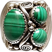 Hallmarked Sterling Silver Malachite Ring. Free U.S. Shipping