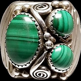 Hallmarked Sterling Silver Malachite Ring. Free U.S. Shipping
