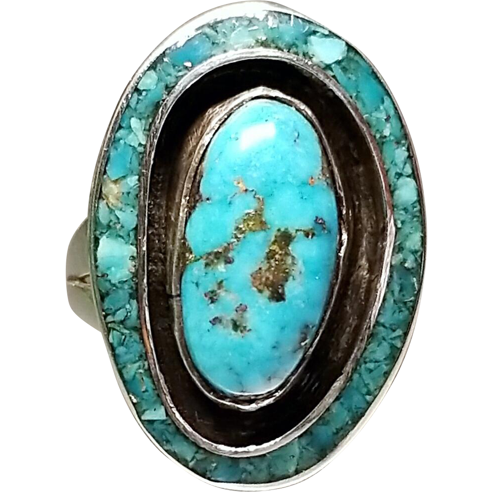 Sterling Silver Turquoise Ring. Free U.S Shipping