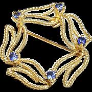 Hallmarked 14 Karat Yellow Gold Sapphire Brooch