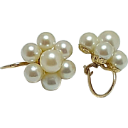 Pair of 14 Karat Yellow Gold Saltwater Cultured Pearl Earrings in a Cluster Style with 18 Karat Yellow Gold Pierced Earring Wires