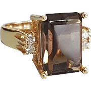 Hallmarked 14 Karat Yellow Gold Smokey Quartz and Diamond Ring