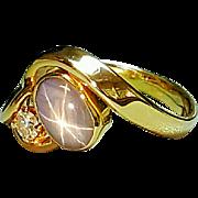 Hallmarked 14 Karat Yellow Gold Gray Star Sapphire and Diamond Ring