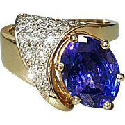 Hallmarked 14 Karat Yellow Gold Tanzanite and Diamond Ring