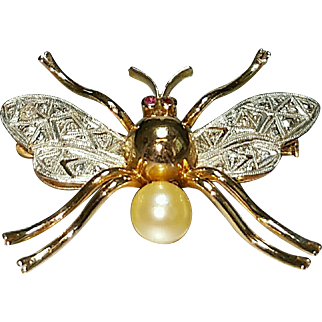 14 Karat Rose Gold and White Gold Diamond Butterfly or Moth Design Brooch Pin