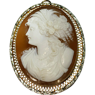 Hallmarked 14 Karat Yellow Gold Accented with White Gold Hardstone Cameo Pendant Brooch