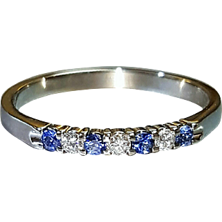 Hallmarked 14 Karat White Gold Genuine Sapphire and Diamond Ring