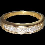 Hallmarked 14 Karat Yellow Gold Princess Cut Diamond Wedding or Anniversary Style Ring