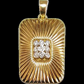 18 Karat Yellow Gold and Platinum Diamond Pendant