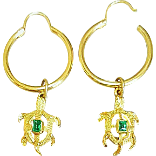 Pair of Hallmarked 18 Karat Yellow Gold Turtle Designs set with Emeralds attached to Hoops Pierced Earrings