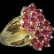 Hallmarked 10 Karat Yellow Gold Ruby Statement Ring