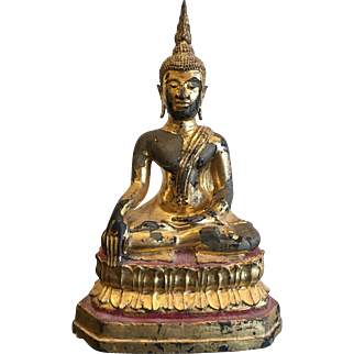 Vintage Sukothai Style Lacquered and Gilt Bronze Buddha,