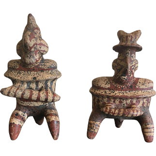 Pair of Pre-Columbian Nayarit Polychrome Pottery Seated Figures
