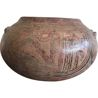 Pre-Columbian, Costa Rican Polychrome Globular Pottery Jar