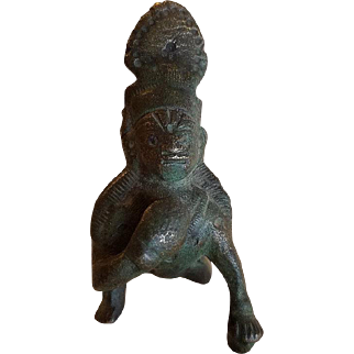 Antique East Indian Primitive Bronze Statue of Lord Krishna holding a Butterball