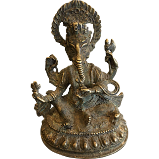 19th Century Bronze Image of Ganesh