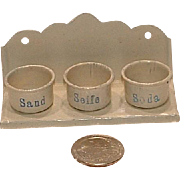 VINTAGE Miniature German Dollhouse Hanging Wash Set - Siefe, Soda and Sand Marklin Bing