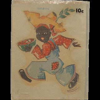 Rare Meyercord Company Black Americana Decal Boy with Watermelon