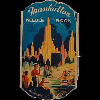 Vintage Manhattan Needle Book Native American Indians New York Skyline Ship