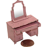 RARE 1930's Tootsie Toy Pink Vanity Dresser / Table with Matching Pink Stool!