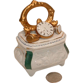 Antique Conta Boehme Porcelain Trinket Fairing Box with Watch, Ring, Stamp and Two Covered Boxes