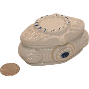 Antique Oval Porcelain Trinket Box Fairing with Blue Accents