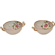 Two Hand Painted Nippon Salts with Gold & Roses