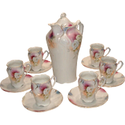 Antique Porcelain Bavaria Chocolate Set Complete with Pot and 6 Cups and Saucers Pink Floral Possible Beyreuth Bayreuth Millar
