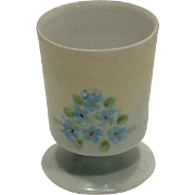Vintage Porcelain Hand Painted Blue Forget Me Not Footed Egg Cup