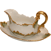 Antique CH Field Haviland Limoges CFH / GDM France 1891 Green and Gold Gravy Boat with under plate MARK is RARE