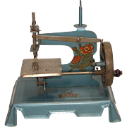"""Vintage Child's Sewing Machine marked """"BABY"""" Made in Paris France - Blue with Decals of Roses"""