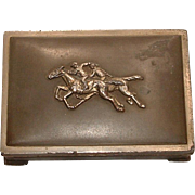 Vintage Cigarette box With Horse Racing Motif and Cedar Lining