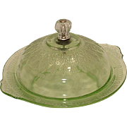 Green Depression Glass Princess Pattern Round Covered Butter Dish