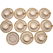 Haviland France Limoges Porcelain Set of 10 Demitasse Cups and 11 Saucers with Roses and Gold