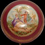 EXQUISITE Antique Large Porcelain Hinged Dresser Box Courting Scene Mandolin