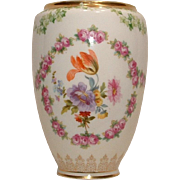 Vintage Royal Bayreuth Hand Painted Vase with Copper Insert
