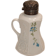 "Victorian Milk Glass Hand Painted Syrup with Original Lid ""Dithridge Model #25"""