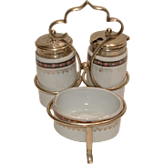 Vintage Altrohlau PORCELAIN Condiment Set with Salt Pepper Shakers & Mustard Pot in a EPNS Caddy