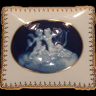 RARE Vintage LIMOGES Dresser Box C Tharaud France Porcelain and Blue Cherubs Pate Sur Pate