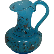 Antique Small French Blue Opaline Glass Pitcher with Hand Painted Gold Accents