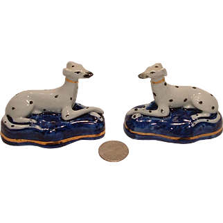 Rare Pair of Staffordshire Ware Whippets on Cobalt Pillows
